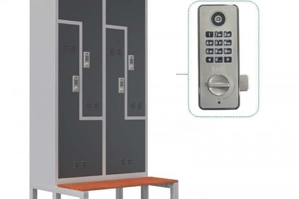Dört Kapılı Çelik Z Soyunma Dolabı – Oturma Banklı – Şifreli Kilit